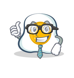 Businessman fried egg character cartoon vector