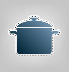 Cooking pan sign blue icon with outline vector