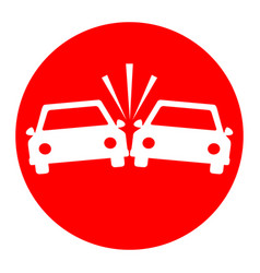 Crashed cars sign white icon in red vector