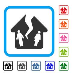Divorce house framed icon vector