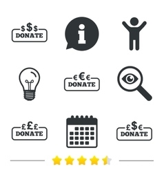 Donate money signs dollar euro and pounds vector