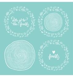 drawn forest frames set vector image vector image