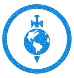 Earth guard rounded icon rubber stamp vector