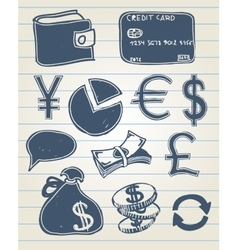 Finance doodle set vector image