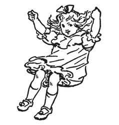 Girl swinging vintage vector