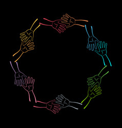 group of hands together vector image