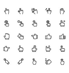 Hand Gesture Line Icons 2 vector image