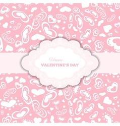 happy valentines day cards with hearts and frame vector image