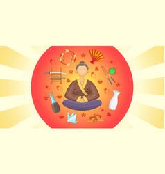 japan banner horizontal cartoon style vector image