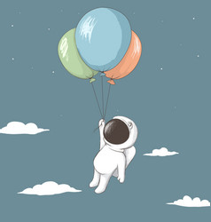 Little astronaut keeps to balloons vector