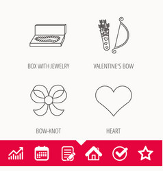 Love heart jewelry and bow-knot icons vector