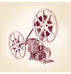 old film projector hand drawn vector image vector image