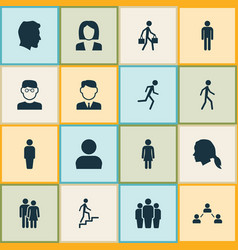 People icons set collection of member vector