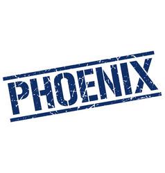 Phoenix blue square stamp vector