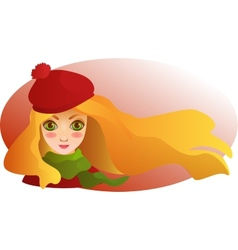 Portrait of beutiful blond girl with streaming vector image
