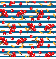 rowan berry and leaves seamless striped vector image vector image