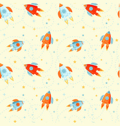seamless pattern with cartoon rockets vector image vector image