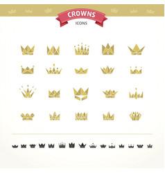 set of geometric vintage crown vector image