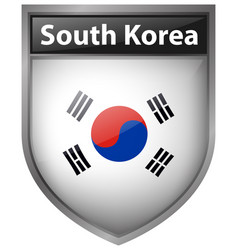 South korea flag on badge design vector