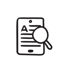 Tablet and magnifying glass sketch icon vector