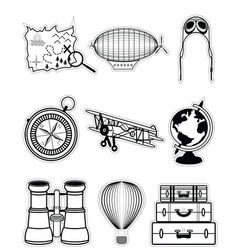 Vintage travel components in stickers style vector