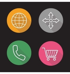Web store flat linear icons set vector image vector image