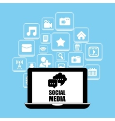 Social media and networking laptop vector image