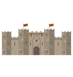 Medieval castle with fortified wall and towers vector