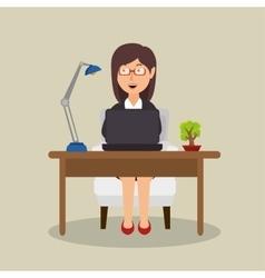 Woman sitting desk working laptop office vector