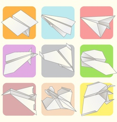 Paper plane model collection set vector