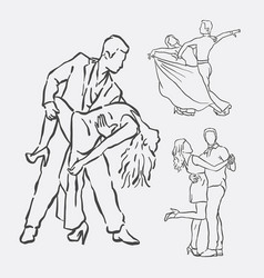 Couple dancing hand drawn style vector