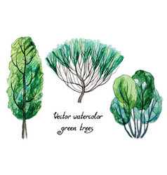 Set of watercolor green trees vector