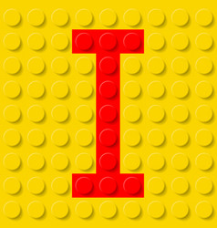 Red letter i in yellow plastic construction kit vector