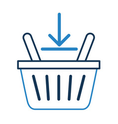Basket shopping with down arrow isolated icon vector