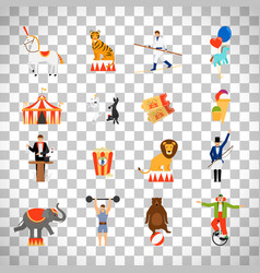 circus flat icons on transparent background vector image