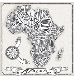 Africa map on vintage handwriting page vector
