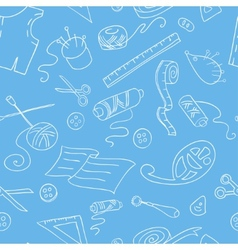 Seamless background with sketches of sewing tools vector