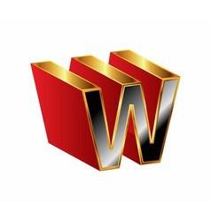 3d alphabet w letter character vector