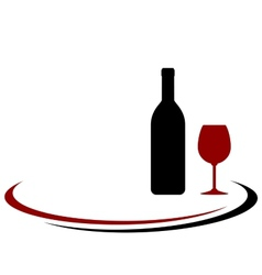 Red wine bottle and glass background vector