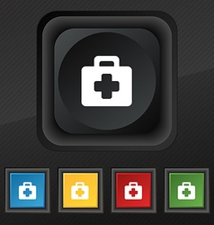 First aid kit icon symbol set of five colorful vector