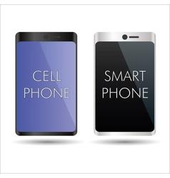 Black and silver smart phones mock up symbols vector