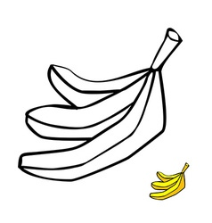 Banana coloring book african fruit vector