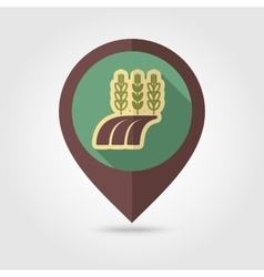 Ears of wheat barley field flat mapping pin icon vector