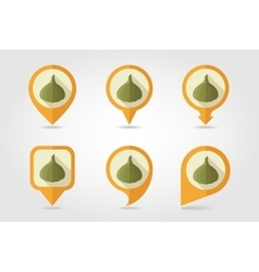 Garlic mapping pins icons with long shadow vector