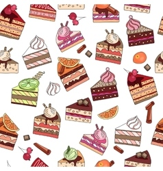 Seamless pattern with fruit cake slices different vector