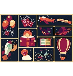 Background with imagination items vector