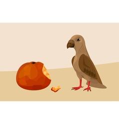 Bird with apple vector