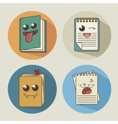 books set character icon vector image vector image