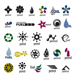 Collection of logos and fuel oil vector