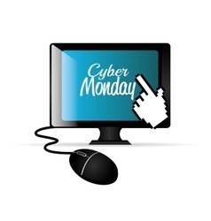 Computer balck cyber monday e-commerce vector